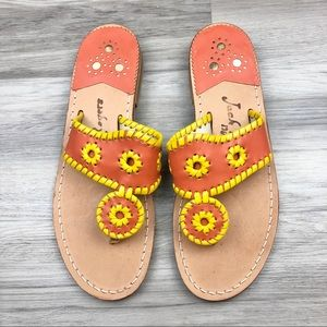 NWOT Jack Rogers Orange and Yellow Sandals